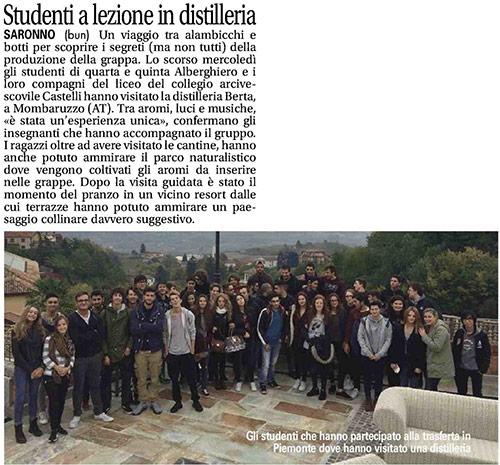 Studenti alle Distillerie Berta